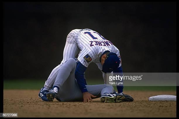 NY Mets Jeff Kent in action vs Chicago Cubs Rey Sanchez