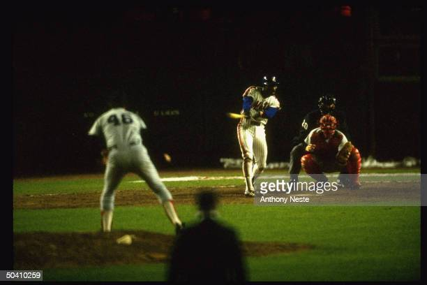 NY Mets Mookie Wilson in action AB vs Boston Red Sox Bob Stanley Wilson hits ground ball that would go through Buckner's legs allowing winning run to...