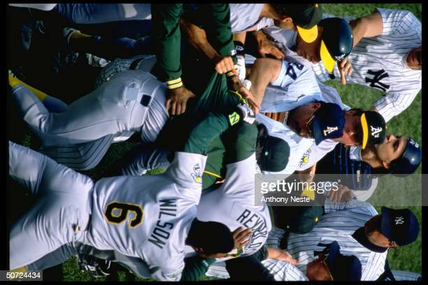 Oakland A's players during fight at game vs NY Yankees
