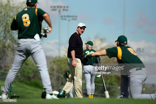 Oakland Athletics general manager Billy Beane during spring training at Municipal Stadium Phoenix AZ 2/24/2005 CREDIT Brad Mangin