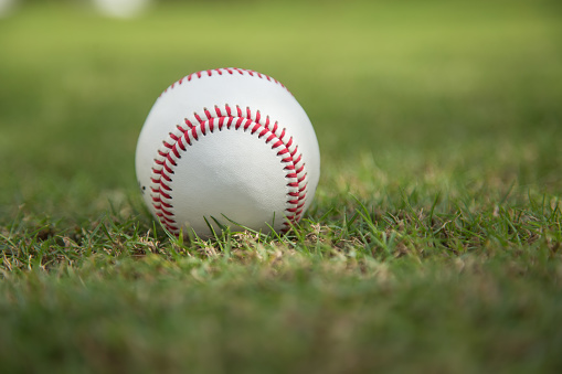 Baseball on green grass 1066549964