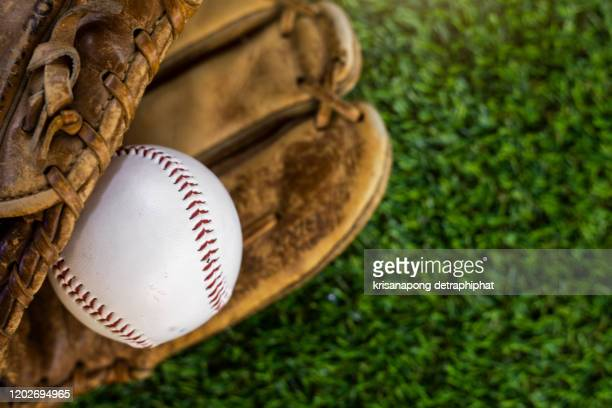 baseball on the green grass - baseball glove stock pictures, royalty-free photos & images