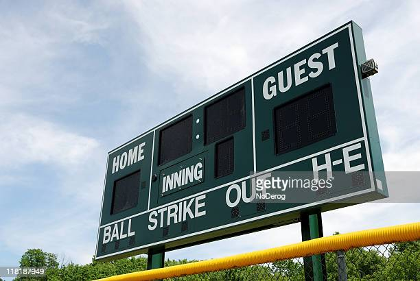 baseball or softball scoreboard - scoreboard stock pictures, royalty-free photos & images