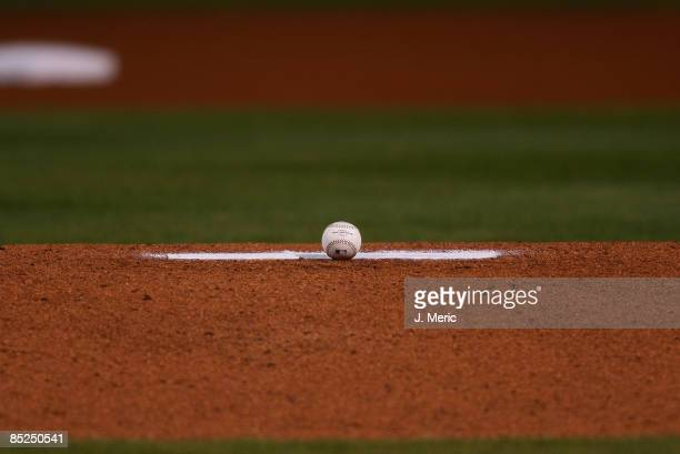 A baseball out on the mound just before the first pitch of the exhibition Spring Training Game between Team Puerto Rico and the Tampa Bay Rays at...