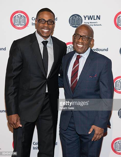 Baseball outfielder Curtis Granderson and TV personality Al Roker attend the 2016 CollegeBound Initiative celebration at Jazz at Lincoln Center on...