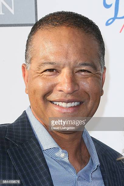 Baseball outfielder Dave Roberts arrives at the Los Angeles Dodgers Foundation Blue Diamond Gala at the Dodger Stadium on July 28 2016 in Los Angeles...