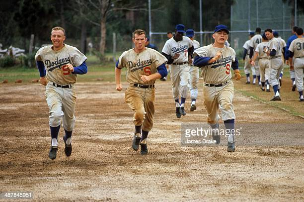 Overall view of Los Angeles Dodgers players running during spring training at Dodgertown Vero Beach FL CREDIT James Drake