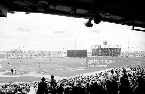 Overall view of Minnesota Twins vs Kansas City Athletics during game at Metropolitan Stadium Bloomington MN 5/9/1964 CREDIT Herb Scharfman