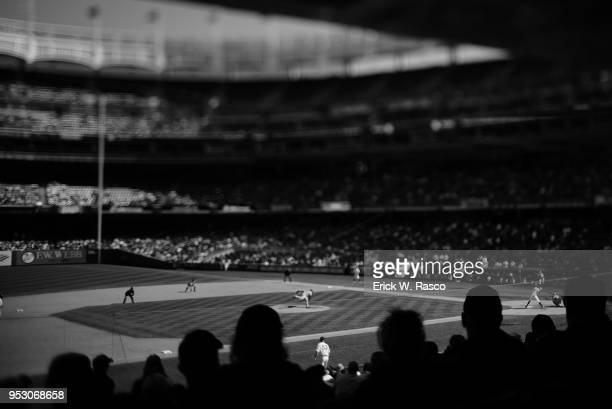 Overall view of New York Yankees Aaron Judge in action at bat vs Minnesota Twins at Yankee Stadium Bronx NY CREDIT Erick W Rasco