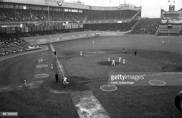 Overall view of Polo Grounds stadium during vs New York Mets vs Pittsburgh Pirates opening day game Inaugural season for franchise New York NY...