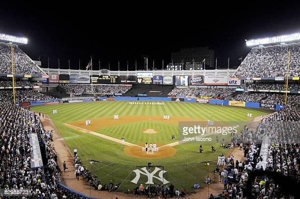 Overall view of pregame ceremonies before New York Yankees vs Baltimore Orioles game Final MLB baseball game at Yankee Stadium Bronx NY 9/21/2008...