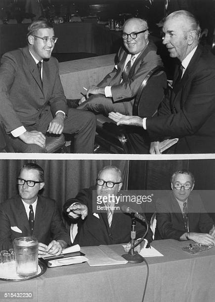Baseball owners hold a meeting in which they reoffer a package previously rejected by the Major League Players' Association. L to R Donald Grant ,...