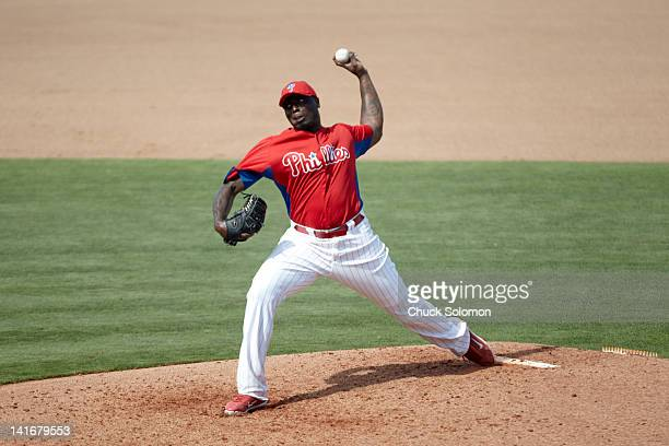 Philadelphia Phillies Dontrelle Willis in action pitching during spring training game vs New York Yankees at Bright House Networks Field Clearwater...