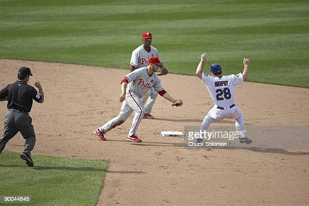 Philadelphia Phillies Eric Bruntlett in action making tag out vs New York Mets Daniel Murphy to complete an unassisted triple play to win game Line...