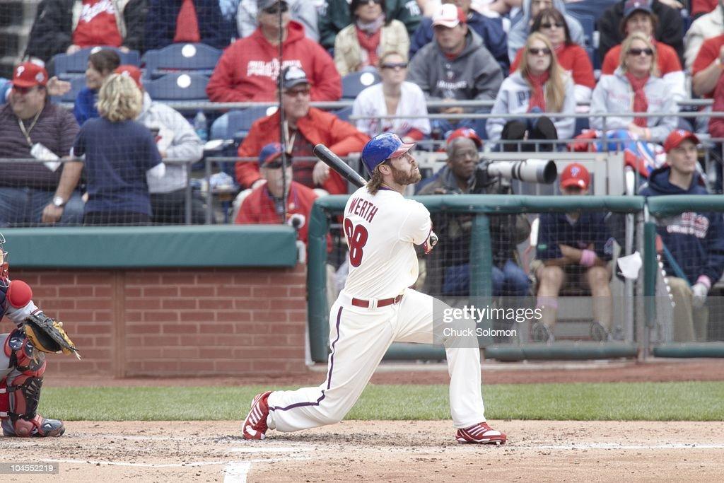 Philadelphia Phillies Jayson Werth (28) in action, at bat vs Atlanta Braves. Philadelphia, PA 5/9/2010