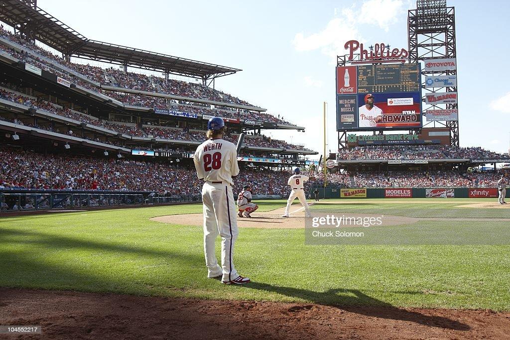 Philadelphia Phillies Jayson Werth (28) on deck while teammate Ryan Howard (6) is at bat vs Atlanta Braves. Philadelphia, PA 5/9/2010