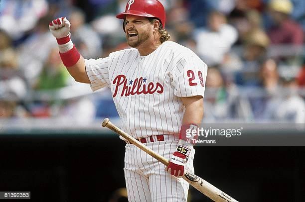 Baseball Philadelphia Phillies John Kruk on deck and victorious during game vs San Diego Padres Philadelphia PA 5/9/1992