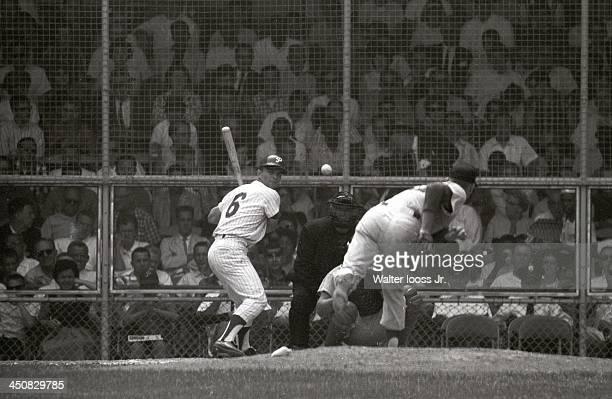 Philadelphia Phillies Johnny Callison in action at bat vs San Francisco Giants at Connie Mack Stadium Philadelphia PA CREDIT Walter Iooss Jr