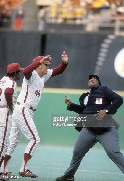 Philadelphia Phillies manager Dallas Green arguing and being ejected from vs Montreal Expos by umpire Eric Gregg at Veterans Stadium Sequence...