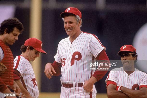 Philadelphia Phillies manager Dallas Green before game vs Montreal Expos at Veterans Stadium Philadelphia PA CREDIT Heinz Kluetmeier