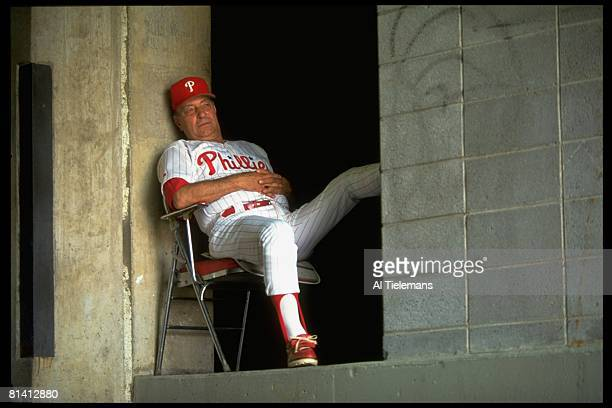 Baseball Philadelphia Phillies pitching coach Johnny Podres in tunnel during game vs Florida Marlins Philadelphia PA 6/17/1993
