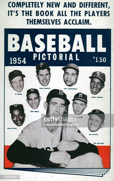 Baseball Pictorial publishers promote their magazine line with a postcard with many Major League stars in 1954 in New York City Hall of Fame players...