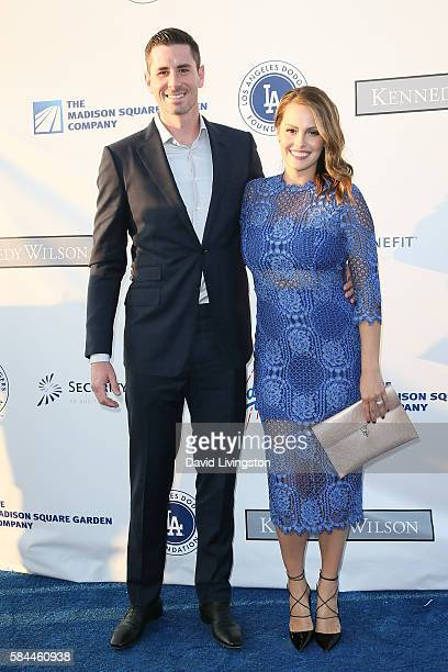 Baseball pitcher Brandon McCarthy and guest arrive at the Los Angeles Dodgers Foundation Blue Diamond Gala at the Dodger Stadium on July 28 2016 in...