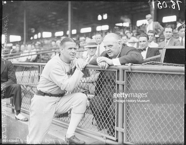 Baseball pitcher George Earnshaw of the Chicago White Sox and John Louis Comiskey at Comiskey Park Chicago Illinois circa 1935