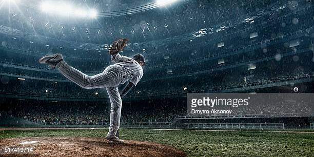 baseball pitcher in action - baseball player stock pictures, royalty-free photos & images