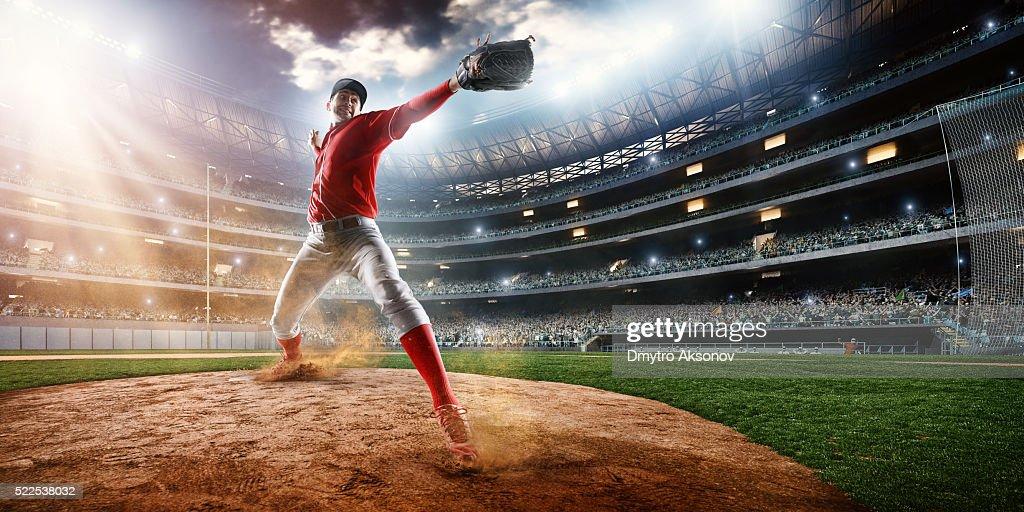 Baseball pitcher on stadium : Stockfoto
