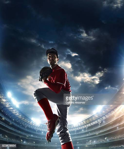 baseball pitcher on stadium - baseball pitcher stock pictures, royalty-free photos & images