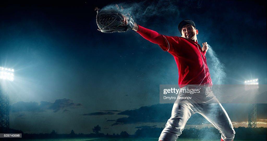 Baseball pitcher on stadium : Stock Photo