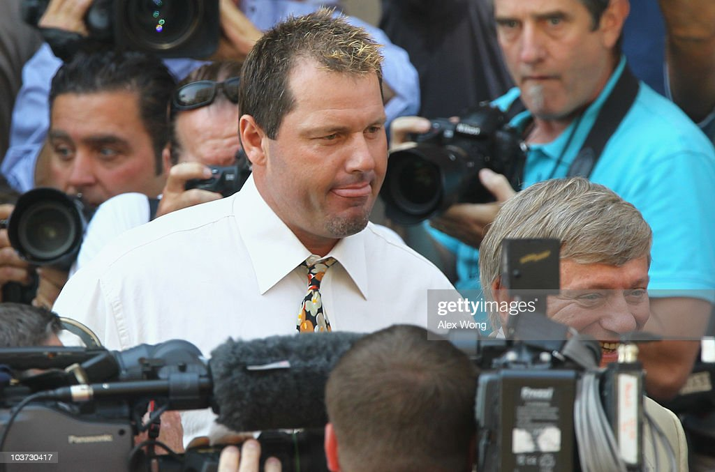 Baseball pitching star Roger Clemens walks out of the U.S. District Court after his arraignment, on August 30, 2010 in Washington, DC. Seven-time Cy Young Award winner Clemens who plead not-guilty was charged with making false statements, perjury and obstructing Congress when he testified in a February 2008 inquiry by the House Oversight and Government Affairs Committee on his alleged use of performance enhancing drugs.