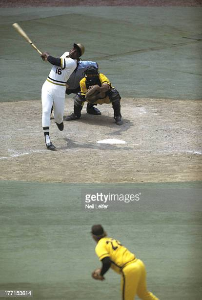 Pittsburgh Pirates Al Oliver in action at bat vs San Diego Padres Steve Arlin at Three Rivers Stadium Pittsburgh PA CREDIT Neil Leifer