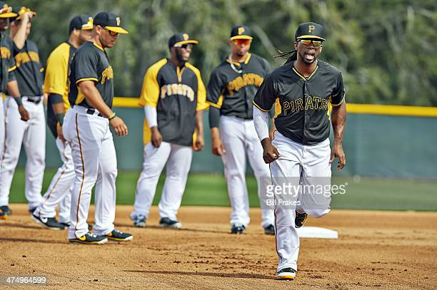 Pittsburgh Pirates Andrew McCutchen in action running bases during spring training workout at Pirate City complex Bradenton FL CREDIT Bill Frakes
