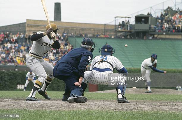 Pittsburgh Pirates Manny Sanguillen in action at bat vs Chicago Cubs at Wrigley Field Chicago IL CREDIT Neil Leifer