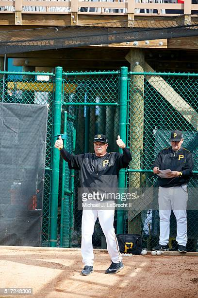 Pittsburgh Pirates pitching coach Ray Searage giving thumbs up in bullpen before spring training game vs Toronto Blue Jays at McKechnie Field...