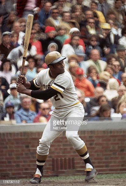 Pittsburgh Pirates Roberto Clemente in action at bat vs Chicago Cubs at Wrigley Field Chicago IL CREDIT Neil Leifer