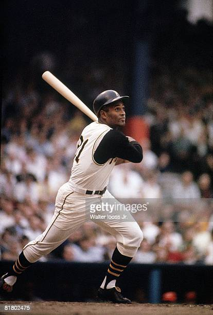 Baseball Pittsburgh Pirates Roberto Clemente in action at bat vs Chicago Cubs Pittsburgh PA 5/23/1967