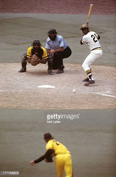 Pittsburgh Pirates Roberto Clemente in action at bat vs San Diego Padres Steve Arlin at Three Rivers Stadium Pittsburgh PA CREDIT Neil Leifer