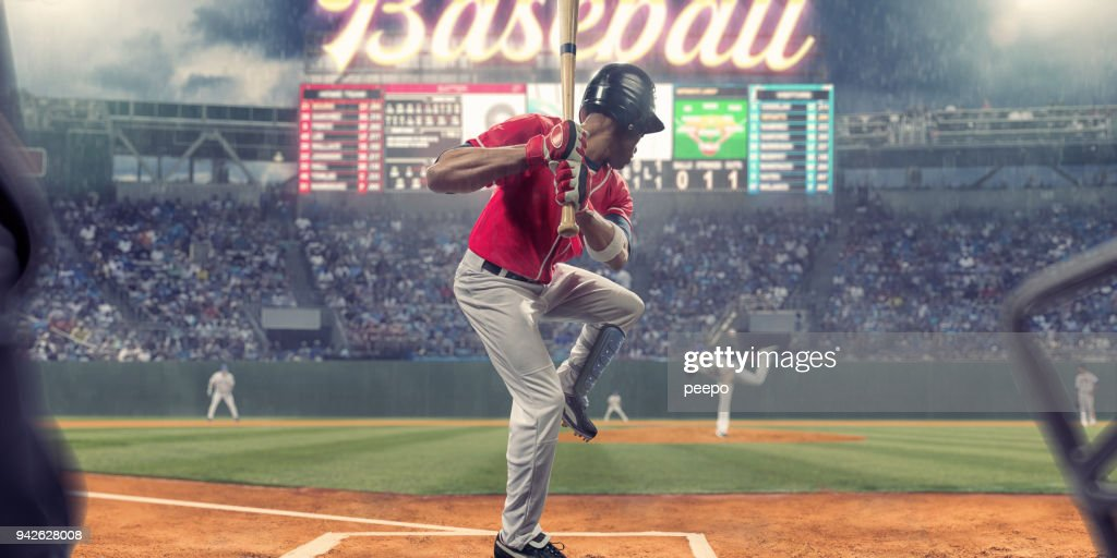 Baseball Player About To Strike Ball During Baseball Game : Stock Photo