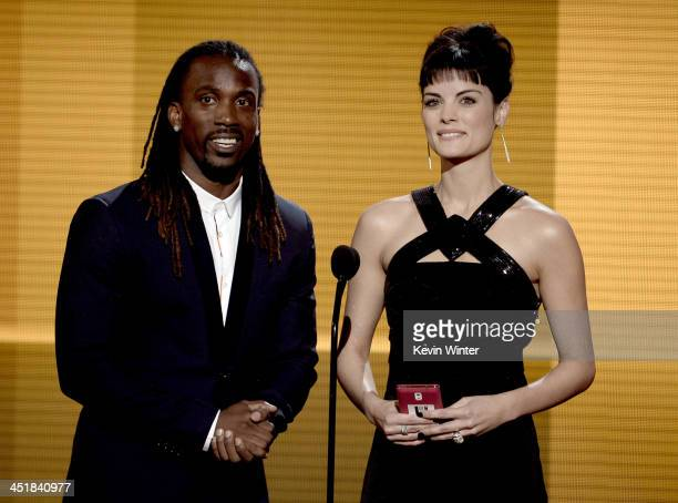 Baseball player Andrew McCutchen and actress Jaimie Alexander speak onstage during the 2013 American Music Awards at Nokia Theatre LA Live on...