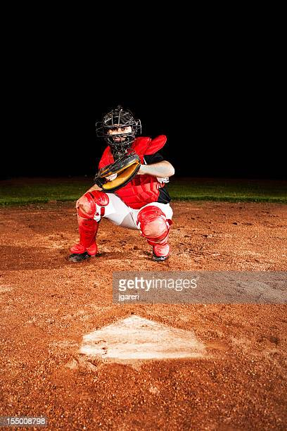 baseball player (catcher) at home plate - baseball catcher stock photos and pictures
