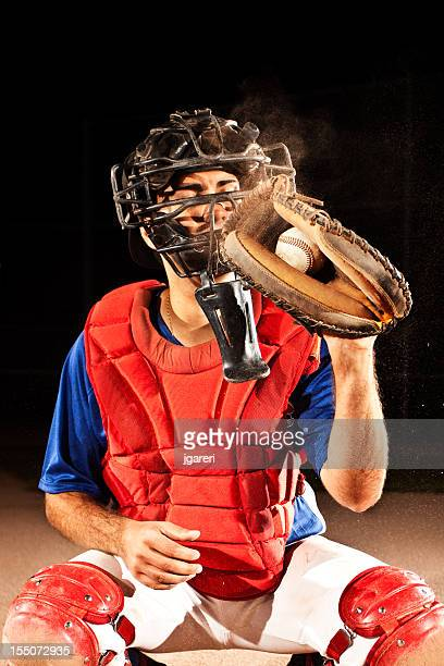 baseball player (catcher) at home plate - baseball catcher stock pictures, royalty-free photos & images