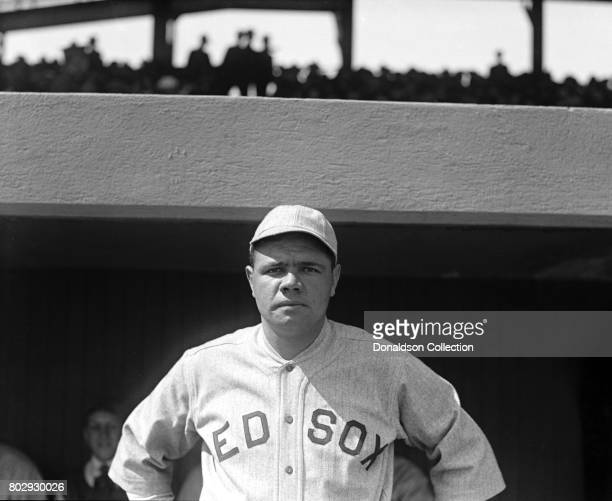 Baseball player Babe Ruth on the field in his Boston Red Sox uniform in 1919 in New York New York