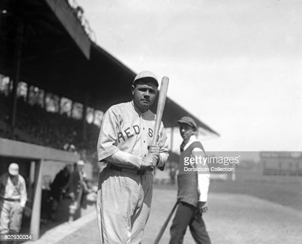 Baseball player Babe Ruth on the field in his Boston Red Sox uniform in 1919 in New York, New York.