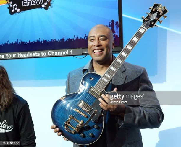 Baseball player Bernie Williams presents D'Angelico guitars at the 2014 National Association of Music Merchants show media preview day at the Anaheim...