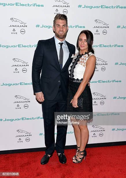 MLB baseball player Bryce Harper and Kayla Varner attend Jaguar's unveiling event for their next era vehicle at Milk Studios on November 14 2016 in...