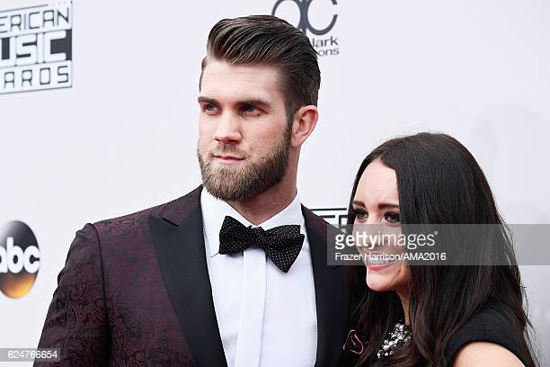 Baseball player Bryce Harper and Kayla Varner attend the 2016 American Music Awards at Microsoft Theater on November 20 2016 in Los Angeles California