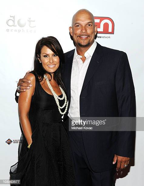 Baseball player David Justice and wife Rebecca VillalobosJustice arrive at the 10th Annual Harold Pump Foundation Gala at the Hyatt Regency Century...